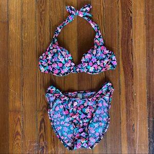 90s Gold Lbl Victoria's Secret Neon Floral Bikini